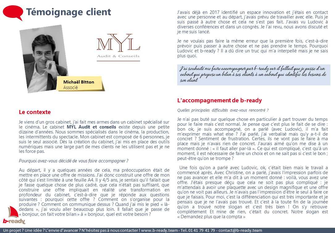 Témoignage client MYL